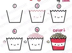 How to Draw Popcorn. Doodle tutorial with Bella at themodestcat.com