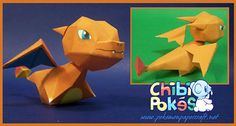 Charizard is a large, dragon-like Pokémon that differs greatly from its pre-evolved form. The red skin color of Charmeleon is no longer. Paper Toys, Paper Crafts, Diy Crafts, Papercraft Pokemon, Paper Folding, Charizard, Paper Models, Printable Paper, Chibi