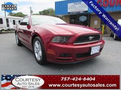 2014 FORD MUSTANG -- VERY CLEAN 1-OWNER With ONLY 26,093 MILES!...In RUBY-RED! -- UP To 31 MPG!! -- INCLUDES Remainder OF Factory WARRANTY! -- CALL TODAY! * 757-424-6404 * FINANCING AVAILABLE! -- Courtesy Auto Sales SPECIALIZES In Providing You With The BEST PRICE On A USED CAR, TRUCK or SUV! -- Get APPROVED TODAY @ courtesyautosales.com * Proudly Serving Your USED CAR NEEDS In Chesapeake, Virginia Beach, Norfolk, Portsmouth, Suffolk, Hampton Roads, Richmond, And ALL Of Virginia SINCE 1976!