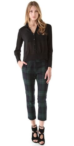Tibi Plaid Skinny Beatles Pants | SHOPBOP