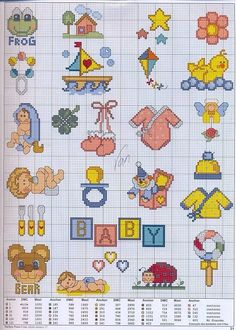 ~ Pin by Caroline Chumley on Sewing-CrossStitch Baby Baby Cross Stitch Patterns, Cross Stitch Borders, Cross Stitch Designs, Cross Stitching, Cross Stitch Embroidery, Small Cross Stitch, Cross Stitch For Kids, Cross Stitch Baby, Cross Stitch Charts