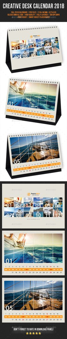 Creative Desk Calendar 2018 V28 - #Calendars #Stationery Download here: https://graphicriver.net/item/creative-desk-calendar-2018-v28/20311151?ref=alena994
