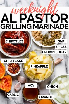 marinade sauce Made with pineapple, orange juice, & chiles, al pastor is perfection when youre craving sweet heat with some Mexican flare. My al pastor marinade delivers all the flavor Marinade Sauce, Tacos Al Pastor Recipe, Grilling Recipes, Beef Recipes, Chicken Recipes, Pork Marinade Recipes, Cooking Sauces, Tater Tots, Sauces