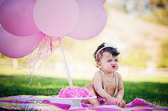 Baby girl photo; 1st birthday photo idea; baby girl jumpsuit; children photography; natural light photography; baby birthday photo with balloon
