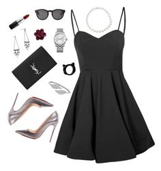"""""""Untitled #77"""" by horansfrenchy ❤ liked on Polyvore featuring Glamorous, BaubleBar, Christian Louboutin, Yves Saint Laurent, Monki, Calvin Klein, Penny Preville and MAC Cosmetics"""