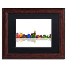 Marlene Watson 'Albuquerque, New Mexico Skyline' Matte, Wood Framed Wall Art