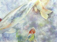 "Beneath the Surface Acrylic with spray acrylic on canvas 30"" x 40"" ©NanciHersh $1250.00 contact nancihersh@gmail.com"