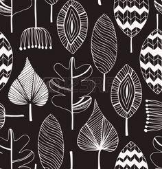 Floral patrón lineal decorativo sin fisuras. Scribble fondo con las hojas. Contorno negro y blanco textura de la tela. Plantilla dibujada a mano para el diseño Foto de archivo