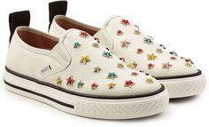 R.E.D. Valentino Embellished sip-on sneakers -Baskets slip-ons en tissu avec étoiles #promotion