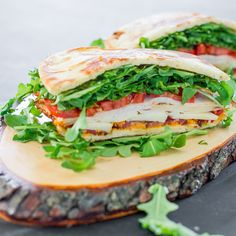 Bacon Chicken and Arugula Sandwich - the perfect sandwich for a snack or a healthy lunch. This sandwich is packed with arugula, tomatoes, and deli meat.