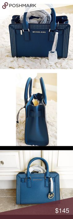 Steel blue Dillon SM satchel Leather Michael Kors Brand new with tags beautiful steel blue satchel authentic Michael Kors Michael Kors Bags Shoulder Bags