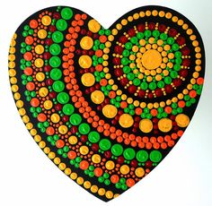 Hand painted door hanging, heart mandala in orange and green colours. Ideal for home decor. Dot Art Painting, Rock Painting Designs, Mandala Painting, Stone Crafts, Rock Crafts, Mandala Pattern, Mandala Design, Mandala Rocks, Hanging Hearts