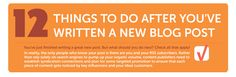 This post and infographic has 12 great tips to help you promote your latest blog post, including optimizing your headline, syndicating your content, tailoring your message for different platforms and more...
