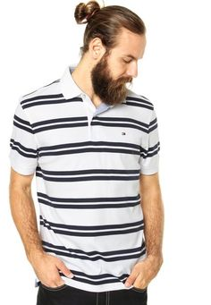 Camisa Polo Tommy Hilfiger Regular Fit Listras Branca 4344abed6f7