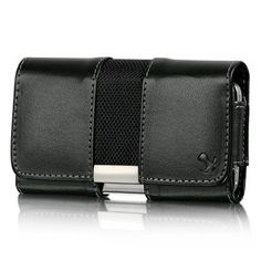 VMG Apple iPhone 4 4S Leather Holster Carrier Belt Clip Case Cover – Black w/ Metal Trim Design Horizontal Carrying Flip Cover Pouch w/ Sewn-In Belt Clip & Secure Belt Loop for Apple iPhone 4/4S AT Sprint Verizon Cell Phone [by VANMOBILEGEAR] | $9.95