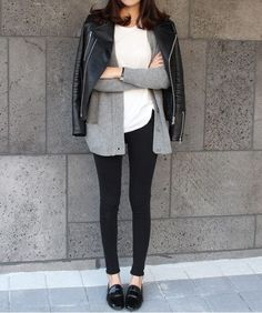 grey scale, white tee, grey boyfriend cardigan, draped moto jacket, ponte ankle pants, patent black smoking slippers