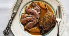 In this classic French preparation, a whole duck is broken down, cooked to golden brown, crisp-skinned perfection and served with a rich orange sauce. Classic French Dishes, French Food, Pekin Ducklings, Orange Sauce Recipe, Roast Duck, Good Foods For Diabetics, Fruits And Veggies, Yummy Food, Favorite Recipes