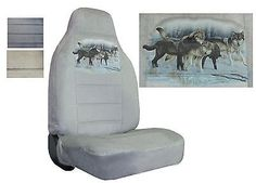 Velour Seat Covers Car Truck SUV Wolf Pack In The Snow High Back pp #Y