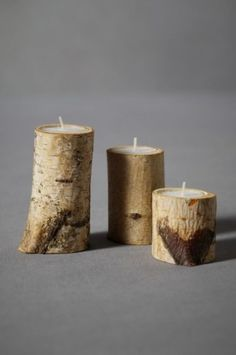 Birch & Spade Tealight Holders - $22.00»  A trio of birch candleholders is a wonderful accent for the mantle or dining table. Pick up one of those big bags of tealights from IKEA to wrap up in the same package.