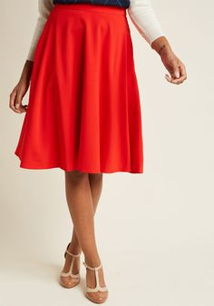 Just This Sway Midi Skirt in Tomato