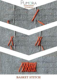 Pumora's embroidery stitch-lexicon: the basket stitch                                                                                                                                                                                 More