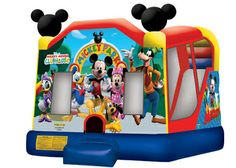 Mickey Mouse Inflatable Combo, Mickey Park 4in1 Bounce and Slide 800-873-8989  Rent the Mickey Park inflatable combo for your little ones and let them put a smile on your guests faces. Characters include Mickey, Minnie, Goofy, Pluto, Donald Duck, and Daisy Duck. Ride features bouncing area, basketball hoop, climber and slide. Rent online at http://www.magicjumprentals.com/rentals/37_inflatable-combos/648_mickey-park-4in1-combo