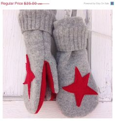 25% OFF SALE- Felted Wool Mittens- Star Mittens-Women-Teen-Upcycled