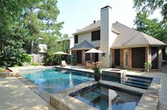 Love the pool border and the fire pit