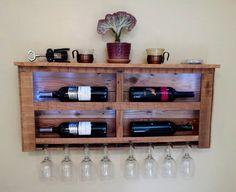 Reclaimed Pallet Wood Wine Rack with White LED Lights by CedarOaks