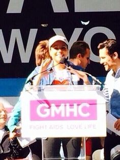 Lana Parrilla attending aids walk in NYC May 18th 2014.
