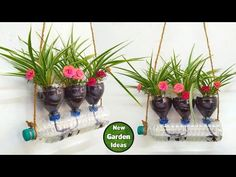 Self watering system for plants using waste plastic bottle// New Method - YouTub. Self watering sy Plant Watering System, Self Watering Plants, Self Watering Containers, Small Plastic Bottles, Plastic Bottle Planter, Water Bottle Crafts, Plastic Bottle Crafts, Self Watering Bottle, Plants In Bottles