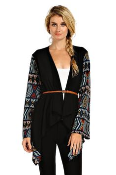 TRIBAL PRINT ACCENT CONTRAST KNIT CARDIGAN
