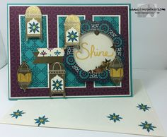 Stamps-N-Lingers.  Moroccan Nights stamp set - coming in June with the new 2016-2017 Stampin' Up! Annual Catalog.  Combined with Bohemian DSP and made into a shaker card. https://stampsnlingers.com/2016/04/23/stampin-up-moroccan-nights-sneak-peek-and-cottage-greetings-shaker-card/
