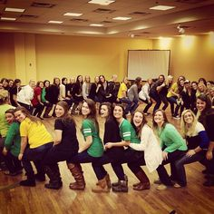 "Kappa Delta doing a fun activity showing their ""support"" for one another."