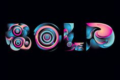 Typography :: Bold - Words Blended with Abstract Shapes - by Rik Oostenbroek, via Behance