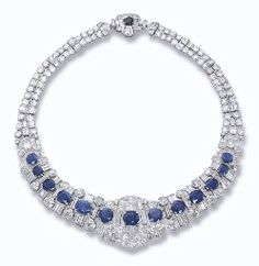 Could use a few more jewels - A SAPPHIRE AND DIAMOND NECKLACE