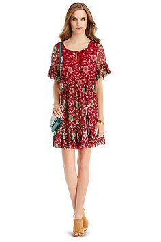 DVF Janie Printed Ruffle Dress in in Degrade Daisy Purple