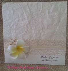 Natural Frangipani Wedding Invitation. Beach or Tropical Wedding Invitation. Also available as a DIY Wedding Invitation