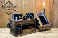 Look at these Wood Docking Station Lamps, 3 models, 3 gift ideas with happiness assurance ! A little utility station made of salvage pine wood and sanded r