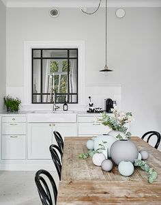 black and white kitchen mint and grey toned vases