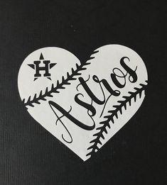 Huston Astros Baseball Heart Vinyl - Car Decal - Bumper Sticker by GetBlastedDesigns on Etsy