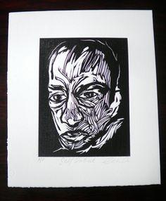 Woodcut Portrait Black and White artwork Graphic by BenPrints