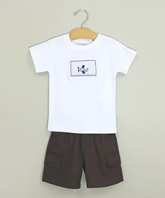 Take a look at this White Plane Smocked Tee & Shorts - Infant & Toddler by Sweet Teas Children's Boutique on #zulily today!