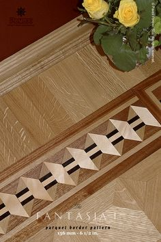 The FANTASIA I hardwood floor border inlay pattern. Manufactured by Pavex Parquet - http://www.pavexparquet.com/hardwood-floor-border-inlays.htm
