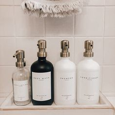 Bathroom Inspo, Basement Bathroom, Bathroom Inspiration, Master Bathroom, Shampoo Bottles, Dream Bathrooms, Bath Decor, Amber Glass, Bathroom Organization