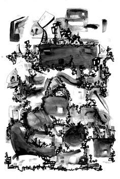 Francois Pretorius - Babylon (2014) #art #illustration #design #city #saulbass #architecture #indianink
