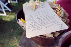 DIY Wedding Programs - attached pencil for word search