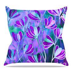 "East Urban Home Efflorescence Throw Pillow Size: 18'' H x 18'' W x 3"" D, Color: Lavender Blue"