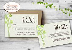Green leafy Wedding Invitation Set Printable by CharmingChestnuts