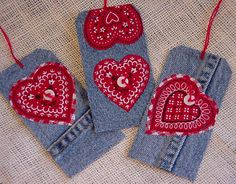 Valentine Denim Tags Gift Tags Upcycled Blue by ITSYOURCOUNTRY, $7.99
